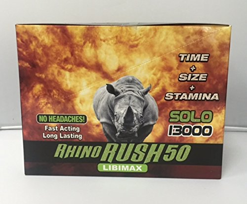 Rhino Rush 50 Solo 13000 LibiMax All Natural Male Enhancement Time - Size - Stamina - 4 Pack (Stiff Nights Male)
