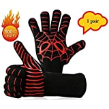 L.GFANG Grilling Gloves, 932℉Heat Resistant BBQ Cooking Gloves Grill Gloves Silicone Non-Slip Oven Mitts Barbecue Glove for Grilling, Welding, Cutting, Baking