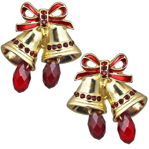 Bell Clip Earrings - TWAS The Night Christmas Bell Stud Earrings (Goldtone) Ritzy Couture (Clip)