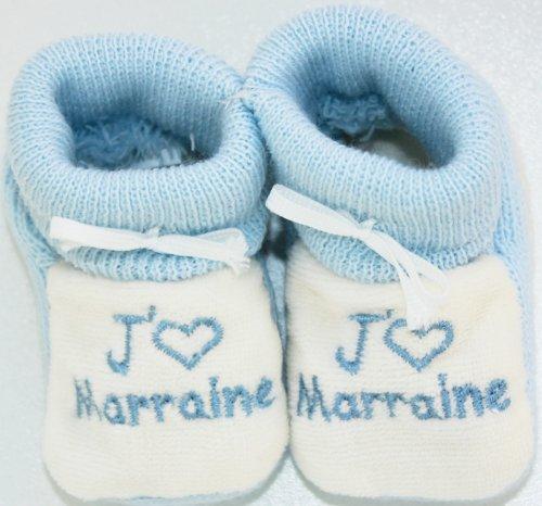 chaussons b/éb/é brod/és jaime marraine coeur bleu//blanc