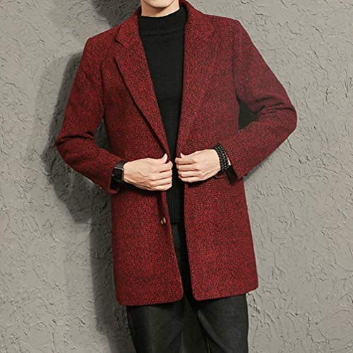 Men's Fashion Breasted Tops Men's Ntel Outwear Apparel Coat Coat Windbreaker Winter Comfortable Trench Long Winter Jacket Huixin Rot Warm Coat Tweed Single dvWRda