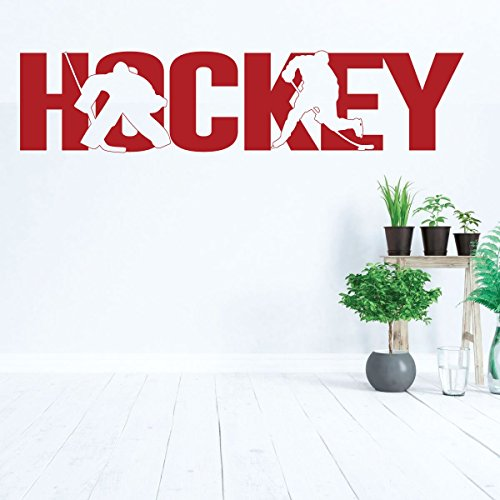 - Hockey Wall Decal With Players Silhouette - Vinyl Decoration for Boys Bedroom, Playroom or Man Cave