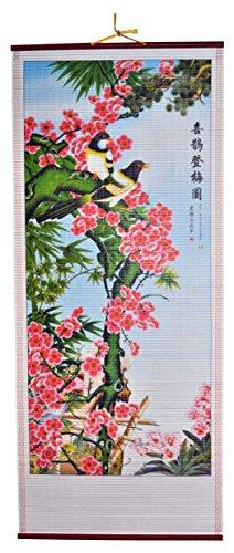 Rattan Wall Scroll - Birds and Flowers (Rattan Manau Cane)
