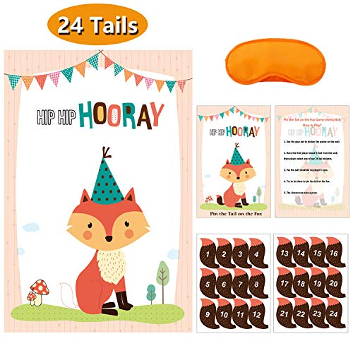 MISS FANTASY Woodland Party Supplies Pin the Tail on the Fox Baby Shower Games Woodland Party Games Activities Favors for Kids Set of 24 -