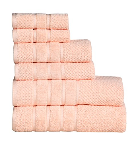 FEATHER & STITCH NEW YORK Feather & Stitch Fade-Resistant 100% Cotton 6-Piece Towel Set, Hotel Quality, Super Soft and Highly Absorbent (Pale Peach, 6 Pack Set)