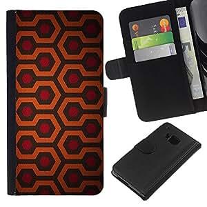 KingStore / Leather Etui en cuir / HTC One M9 / Motif Rouge Orange