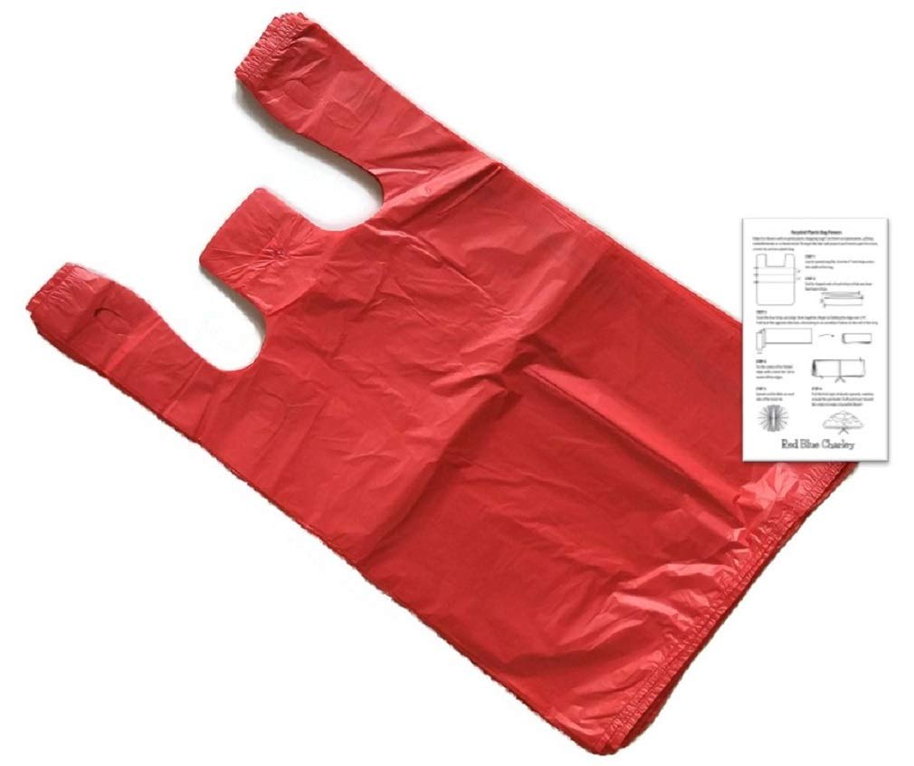 Red 18x10x30 T-shirt XL Bags 100 Pack Reusable Retail Shopping Bags G Bar L Trading Company with Craft Insert