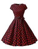 Dressystar DS1956 Women Vintage 1950s Retro Rockabilly Prom Dresses Cap-Sleeve XXL Black Red Dot B