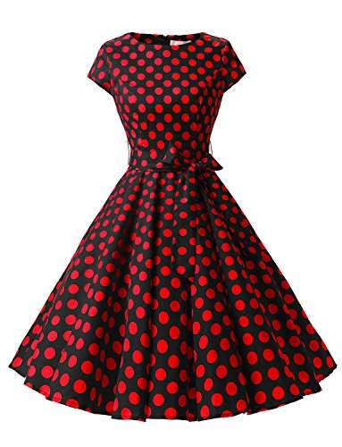 Dressystar DS1956 Women Vintage 1950s Retro Rockabilly Prom Dresses Cap-Sleeve L Black Red Dot B