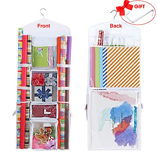 ProPik Hanging Double Sided Wrapping Paper Storage Organizer with Multiple Front and Back Pockets Organize Your Gift Wrap & Gift Bags Bows Ribbons 40X17 Fits 40 Inch Rolls (White)