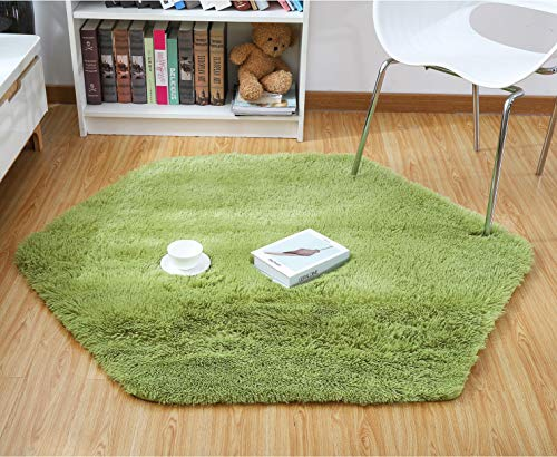 Junovo Ultra Soft Rug for Nursery Children Room Baby Room Home Decor Dormitory,Hexagon Carpet for Playhouse Princess Tent Kids Play Castle,Diameter 55-inch,Green