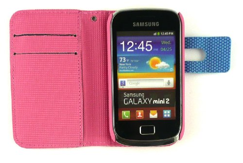 Emartbuy® Stylus Pack Para Samsung S6500 Galaxy Mini 2 Píxeles Monedero Caso / Cubierta / Bolsa Rosa / Azul Con Ranuras Para Tarjetas De Crédito + Mini Metálico Hot Rosa Stylus + Protector De Pantalla