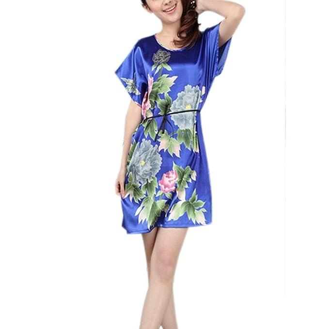LY Mujer Satén de seda camiseta de manga Batwing Sleep pijamas camisón pijama