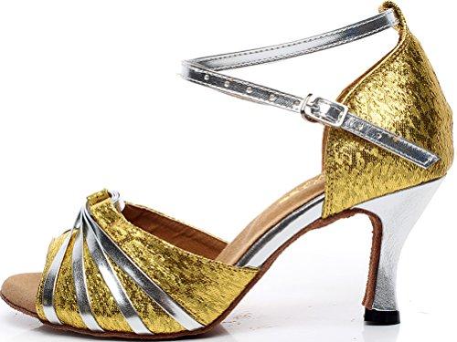 Salabobo AQQ-5004 Womens Wedding Party Tango Peep Toe Mid Heel PU Spotted Dance Shoes golden wXuC69XIZ