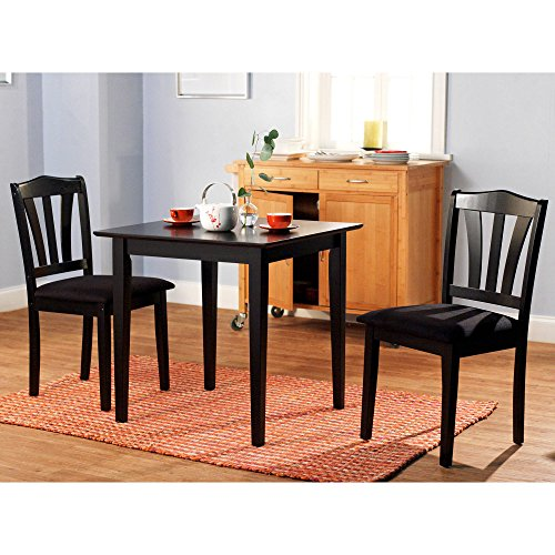"MPN 3 Piece Dining Set, Multiple Finishes, Black, Material Rubberwood, Micro fiber Fabric Foam Small kitchen dining set in your choice, No. of pieces 3, Measurements: 30""L x 30""W x 29""H"