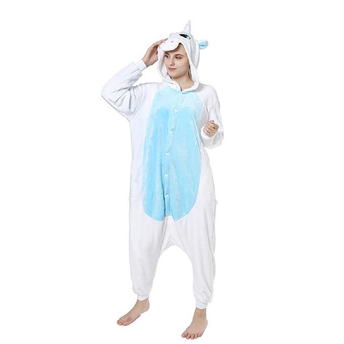 Ellse Pijamas Siameses De Dibujos Animados Acogedor Acolchado Inicio Ropa Hombres Y Mujeres Unicornio Lindo Azul