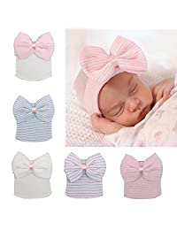 5 Pieces Newborn Baby Hat Cap with Big Bow Decoration Nursery Beanie for baby