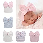 5 Pieces Newborn Baby Hat Cap with Big Bow Decoration Nursery Beanie