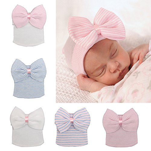 New Big Cap Hat (5 Pieces Newborn Baby Hat Cap with Big Bow Decoration Nursery Beanie)