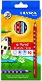 LYRA Groove Child-Grip Pencils, 4.25mm Lead Core, Set of 10, Assorted Colors (3811100)