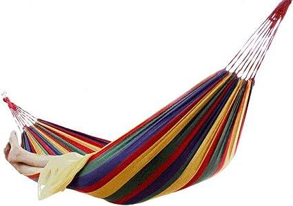 Hamac en Coton /à Rayures M/élangisme Lit dext/érieur Patio Jardin Backpacking Loisirs Jardin Hamacs Ultral/éger avec Sac KIKOOY Hamac en Plein air Portable en Toile