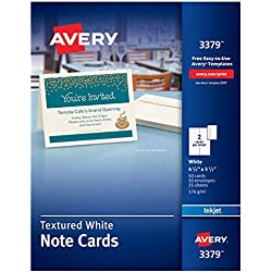 Avery Printable Note Cards, Inkjet Printers, 50 Cards and Envelopes, 4.25 x 5.5, Heavyweight, Textured (3379)