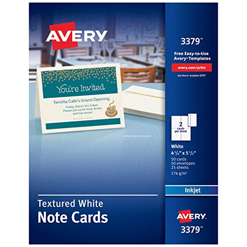 Avery Printable Note Cards, Inkjet Printers, 50 Cards and Envelopes, 4.25 x 5.5, Heavyweight, Textured (3379) Custom Printable Birthday Invitations