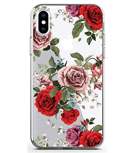 BAISRKE Slim Shockproof Clear Floral Pattern Soft Flexible TPU Back Cover Phone Case for iPhone Xs Max 2018 6.5 inch [Red Roses]