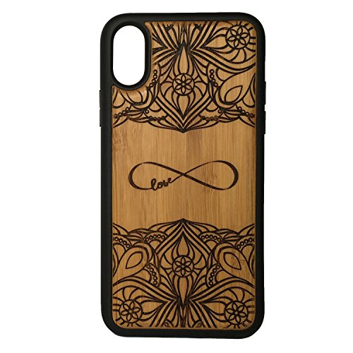 Infinity Case for iPhone XR by iMakeTheCase | Eco-Friendly Bamboo Wood Cover TPU Wrapped Edges | Forever Love Eternity Symbol Sign | Couples Engagement Wedding Gift Ornate Tattoo.