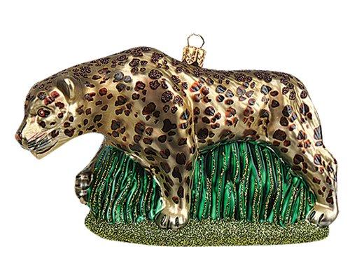 Pinnacle Peak Trading Company Leopard Polish Mouth Blown Glass Christmas Ornament Wild Cat Tree Decoration]()