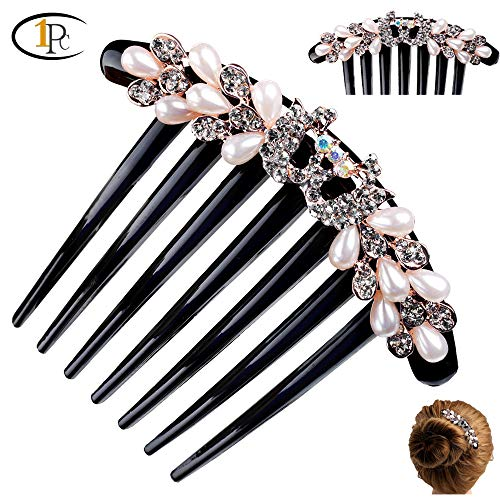 (FINGER LOVE French twist 7 Teeth Arcylic Hair Comb Ornamented along the top of the heading with pearl crystal Rhinestone Floral Vantage Handmade French Twist Comb (Phoenix))