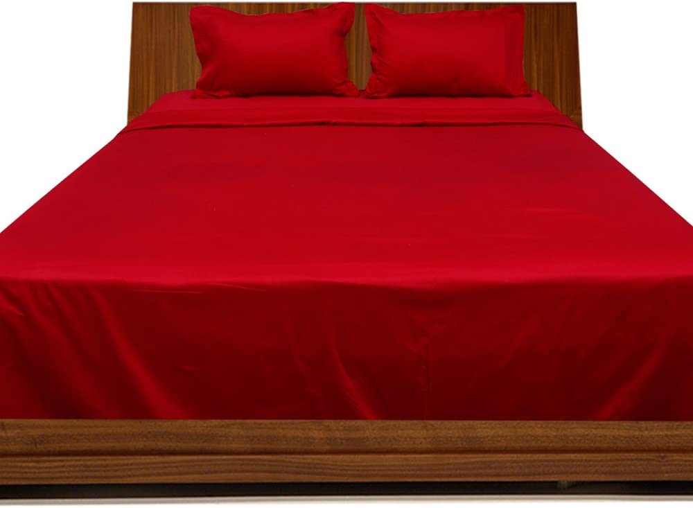 BudgetLinen 4PCs Juego de sábanas(Sangre Rojo, Extragrande 150 x ...