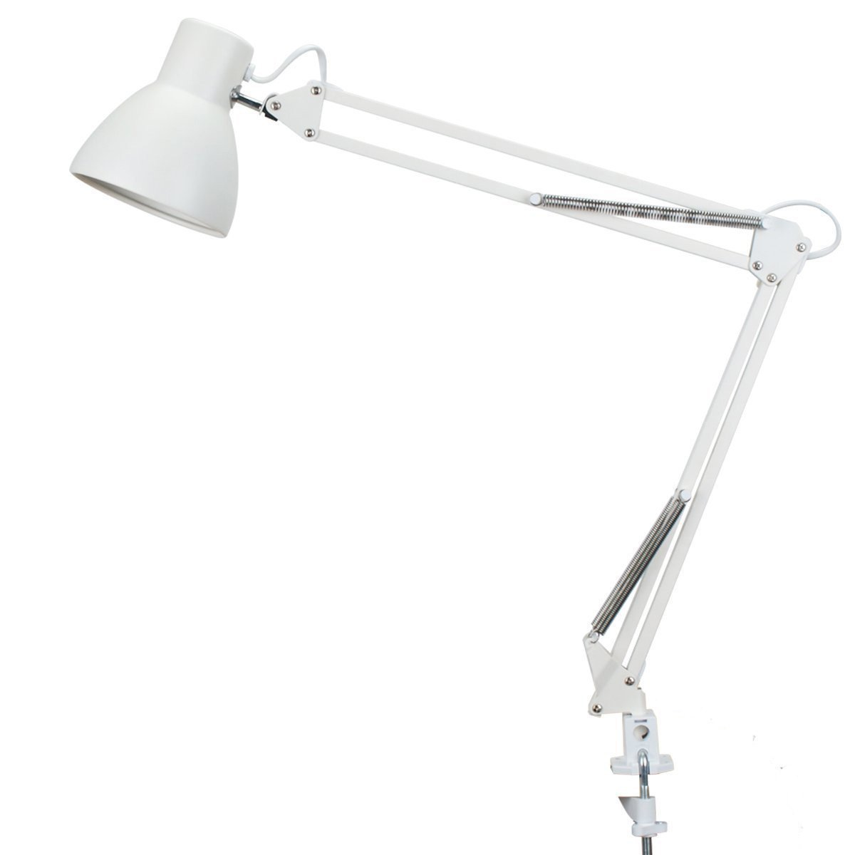 ToJane Swing Arm Desk Lamp,Architect Table Clamp Mounted Light, Flexible Arm Drawing/Office/Studio Table Lamp,Grey Metal Finish TG801-GY