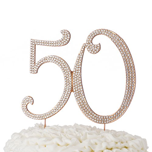50-Cake-Topper-50th-Birthday-or-Anniversary-Party-Rhinestone-Number-Rose-Gold-Decoration-Rose-Gold