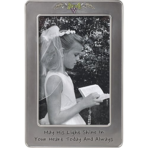 (Precious Moments 172408 May His Light Sine in Your Heart Today & Always First Communion Silver Zinc Alloy 4 X 6 Photo Frame, One Size, Multi)