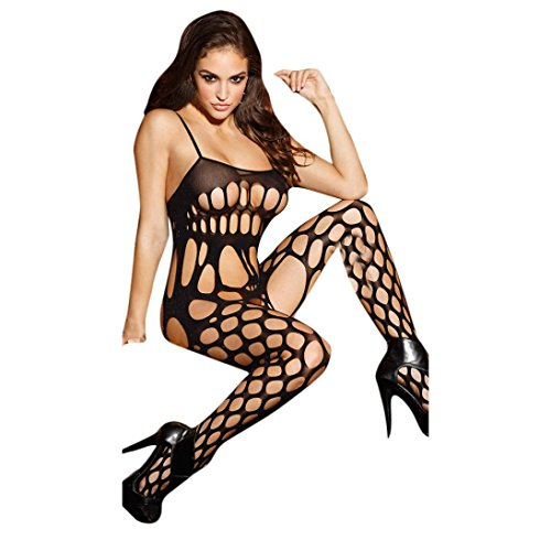Secy Halloween Outfits (Sexy Women Sleeveless Lingerie, Leeford Lace Underwear Sleepwear Jumpsuits Conjoined Net (Free Size, Black))