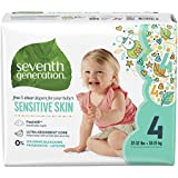 Seventh Generation Baby Diapers, Free & Clear for Sensitive Skin with Animal Prints, Size 4, 108 Count (Packaging May Vary)