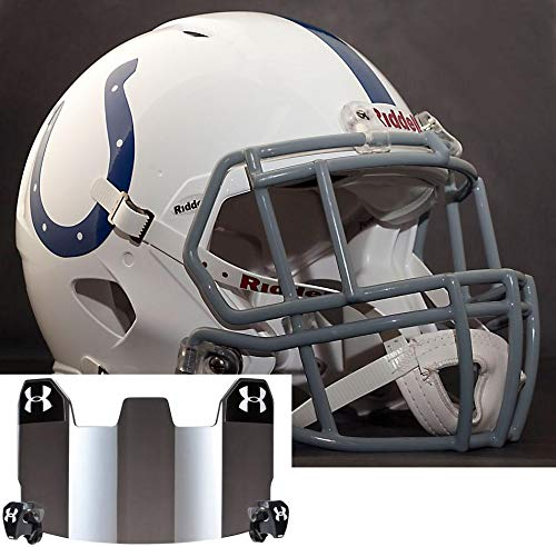 Riddell Indianapolis Colts NFL Gameday Replica Football Helmet with S2EG-II-SP Football Helmet Facemask/Faceguard and Mirrored Eye Shield/Visor