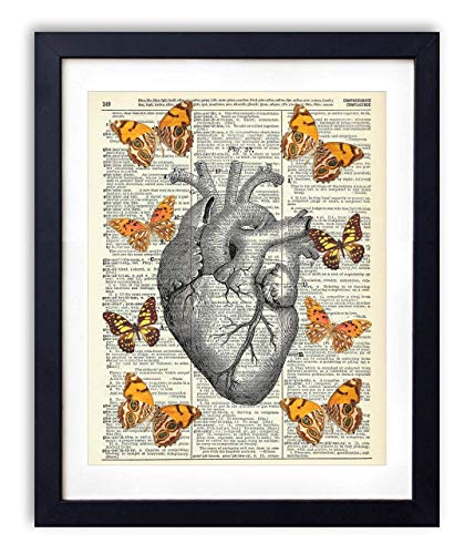 Anatomical Heart With Yellow Butterflies Upcycled Vintage Dictionary Art Print - Poster Butterfly Art