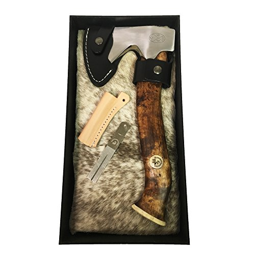 Karesuando Kniven Stuorra Aksu Big Axe Hatchet 11.5'' Overall, Brown Oiled Curly Birch Handle, Leather Sheath - 4014 by Karesuando Kniven (Image #1)