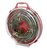 Homz Holiday Wreath Plastic Storage Box with Clear Lid (up to 24-Inch Diameter), Red (3-Pack)