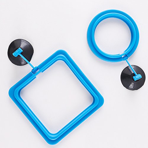 SLSON Fish Feeding Ring Aquarium Fish Safe Floating Food Feeder Circle Square and Round with Suction Cup,Set of 2