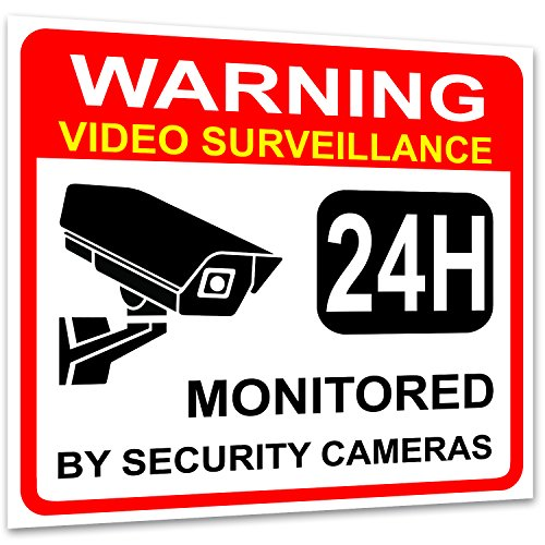 "(4 Pack) Video Surveillance Sign Sticker-Decal, 7""x6"", Premium Self-Adhesive Vinyl, Bubble Free Application, Fade and Weather Resistant, UV Protected, For Indoor and Outdoor Use by iSYFIX."