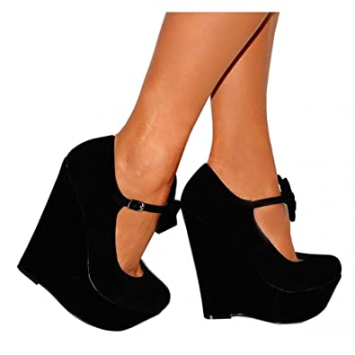 10a46e819b Ladies Womens Black Bow Ankle Wedges High heels (UK4/EURO37): Amazon.co.uk:  Shoes & Bags