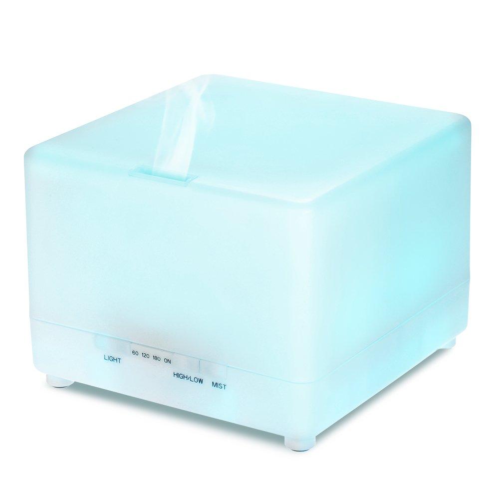 Decdeal - Cúbico Humidificador Ultrasónico de Aromaterapia, Capacidad 700ml, 7 Led Colores