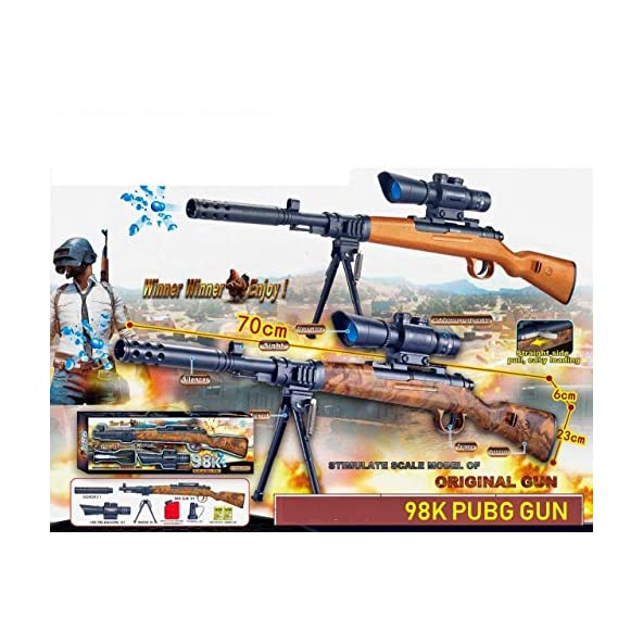 nandani enterprises PUBG Theme Gun Toys Set with 15X Telescope and Tripod Target Shooting Gun 98K Bolt Action Rifle Role Play Game for Kids