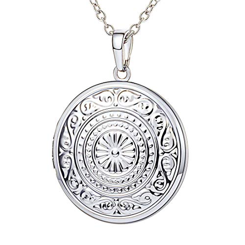 - U7 Vintage Sunflower Locket Necklace Round Pendant with Platinum Plated Chain Photo Locket Jewelry for Bride/Grandma/Girlfriend/Daughter
