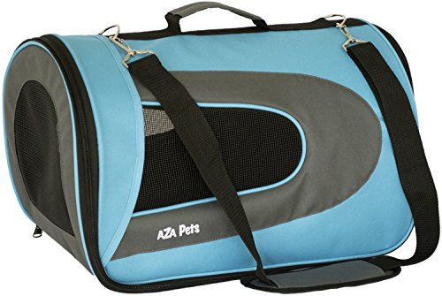 AZA Pets PET TRAVEL CARRIER for Cats, Small Dogs, Puppies, Airline Approved, Soft Sided, Carry-on fits under seat, Shoulder strap, stylish, collapsible folds flat for easy storage-Light Blue