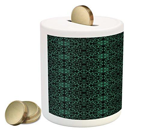 Cheap  Lunarable Green Oriental Piggy Bank, Geometric Asian Kaleidoscope Inspired Curvy Leaf Line..