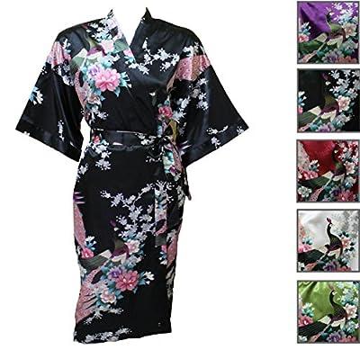 Artiwa Women's Kimono Style Satin Robe - Peacock & Blossom Design, Short
